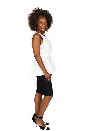 Creme Peblem shirt with black pencil skirt