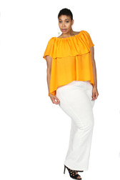 Cold-shoulder peach ruffle blouse with white pants
