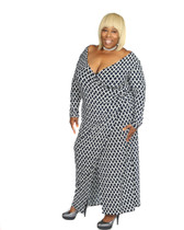 Navy blue and white ambassador faux wrap maxi dress long sleeves.