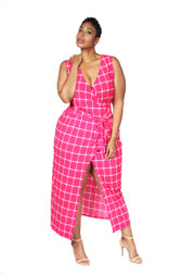 Fuschia pink ambassador faux wrap maxi dress