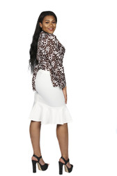 2pc brown and white wrap shirt with white fitted tulip bottom skirt
