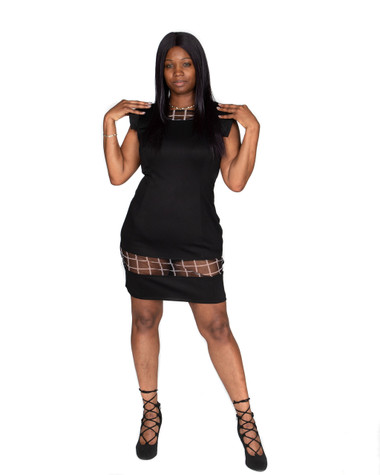 Black Scuba Dress with Sheer Panel at Hem