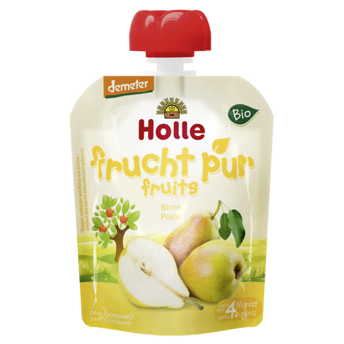 Holle Organic (Bio) Pure Fruit Pouches: Pear (4+ Months) (90g)