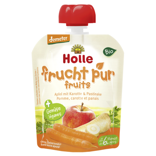 Holle Organic (Bio) Pure Fruit Pouches: Apple, Carrot & Parsnip (6+ Months) (90g)