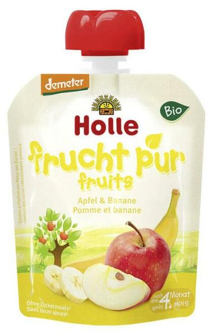 Holle Organic (Bio) Pure Fruit Pouches: Apple & Banana (4+ Months) (90g)
