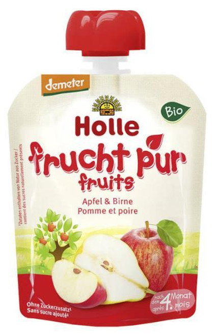 Holle Organic (Bio) Pure Fruit Pouches: Apple & Pear (4+ Months) (90g)