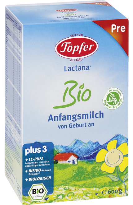 Topfer Stage PRE Lactana Organic (Bio) First Infant Milk Baby Formula (600g)