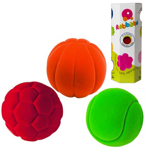 "Rubbabu Soft and Natural Toys: 3 Pack of Small Sports Balls (3 x 2.5"")"