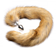 Tailz Extra Long Mink Tail Metal Anal Plug by XR Brands-Brown