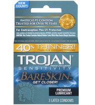 Trojan Sensitivity Bareskin Lubricated Condoms 3 Pack