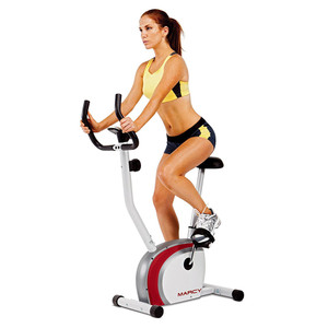 Model riding The Marcy Upright Exercise Bike NS-908U