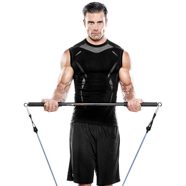 Bionic Body BBEB-20 Exercise Bar in use by model for curls