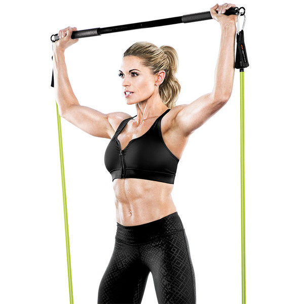 Bionic Body BBEB-20 Exercise Bar in use by Kim Lyons for squats