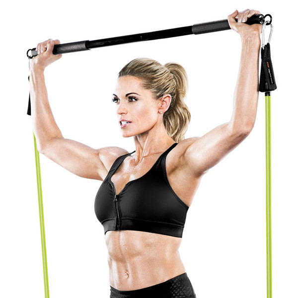 Bionic Body BBEB-20 Exercise Bar in use by Kim Lyons to add weight to her HIIT conditioning