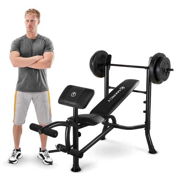 Model with the Marcy Standard Weight Bench with 80-lb. Weight Set MWB-20101