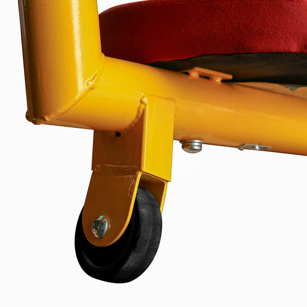 The  Gym Dandy Spinning Teeter Totter TT-360 Seesaw has wheels to keep the fun spinning