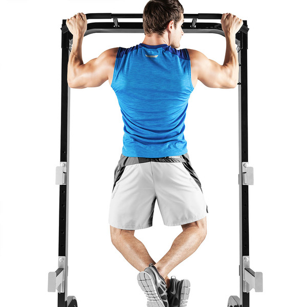 The Marcy Half Cage Rack SM-8117 includes a pull up bar