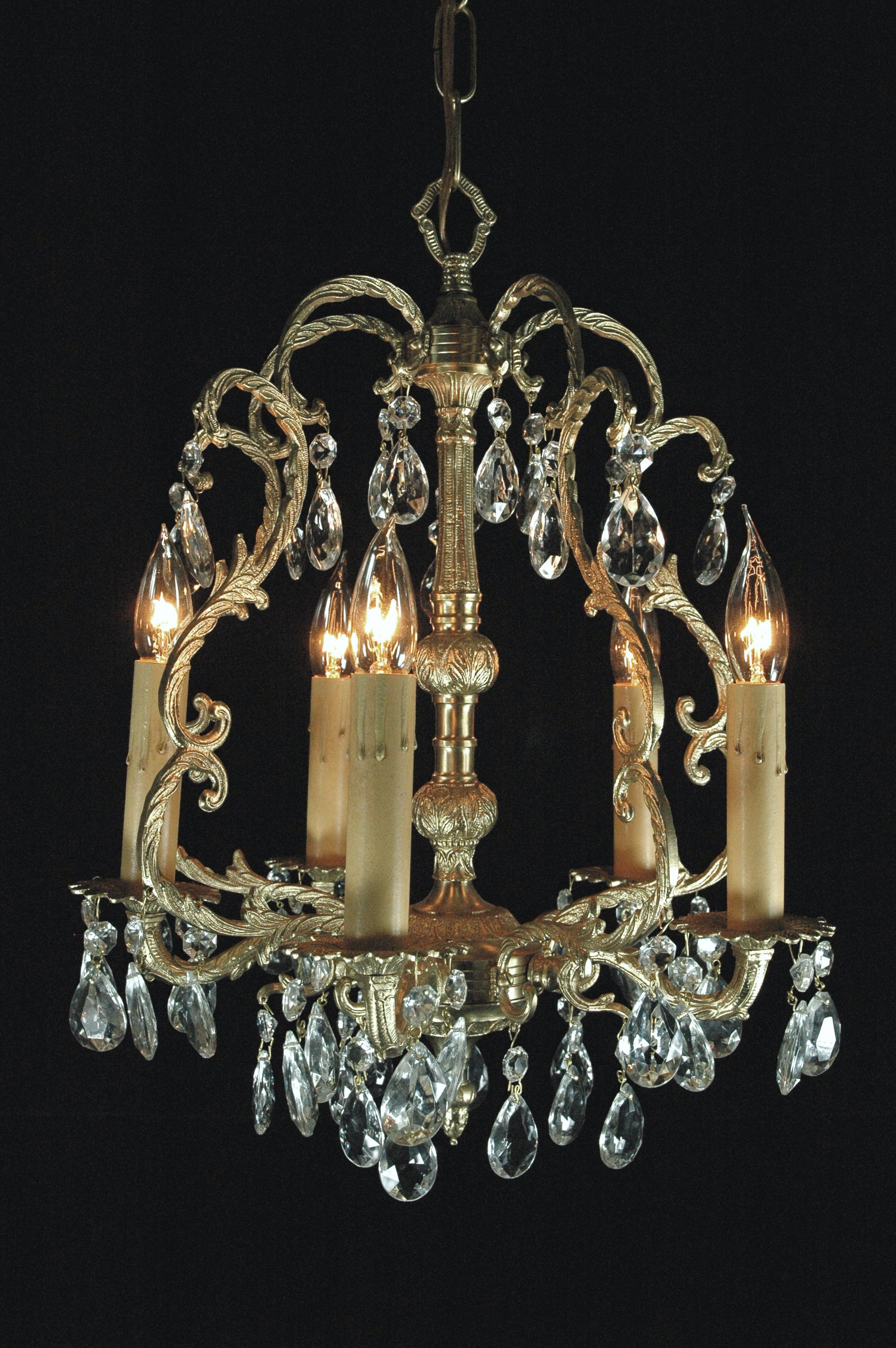 French Brass Chandeliers
