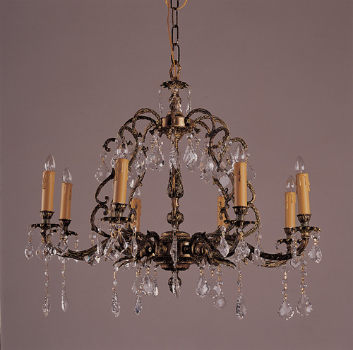 - 8 Light Antique French Brass & Crystal Chandeliers K8