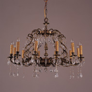 12 Light Antique French Brass & crystal Chandeliers K12