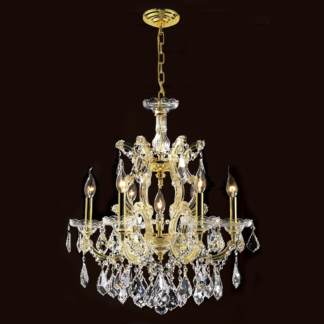 6 Light Maria Theresa Crystal Chandelier 2800D20G