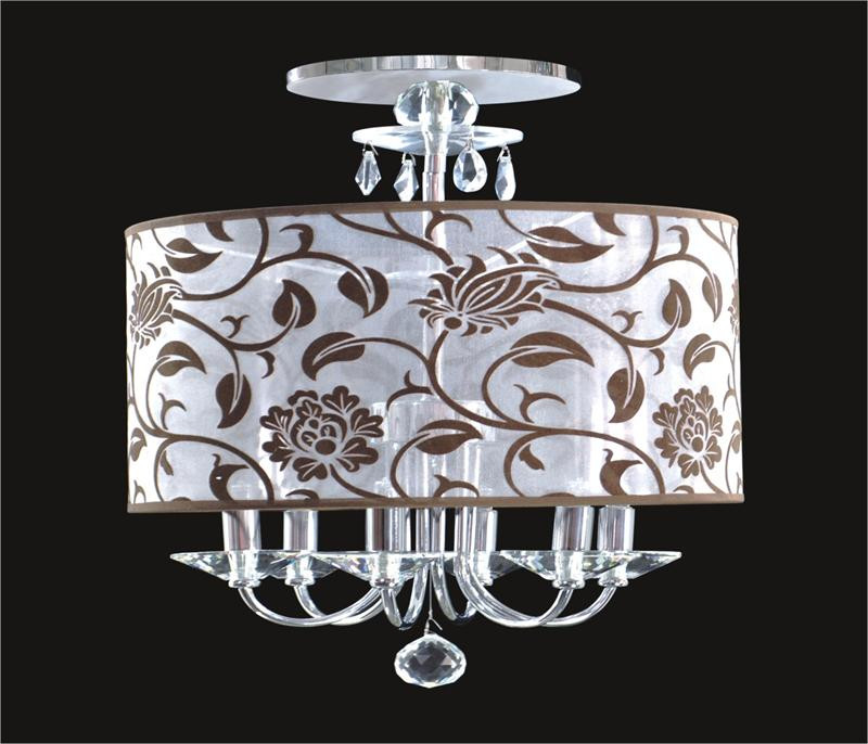 6 Light Crystal Flush Mount With Flower Shade Kl 41052 1820 F