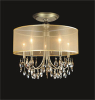 5 Light Crystal Flush Mount With Golden Teak Shade KL-41052-2221-GT