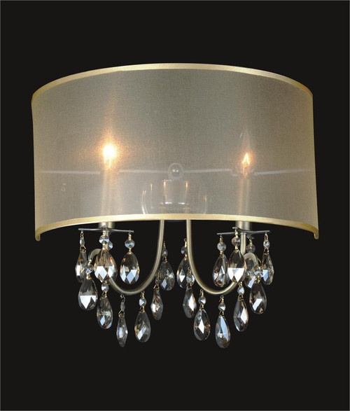 Single Light Wall Sconce With Crystals : 2 Light Crystal Wall Sconce With Golden Teak Shade MB8476/2ANB