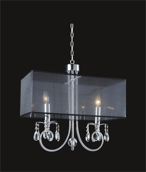 2 Light Crystal Chandelier With Black Shade MD8476/2RBC