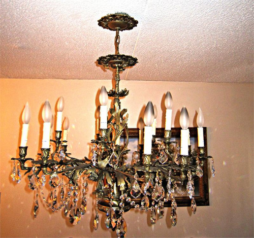 15 light antique french brass crystal chandelier k15k15 15 light antique french brass crystal chandelier k15 mozeypictures Gallery
