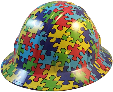 Autism Puzzle Hydro Dipped Hard Hat