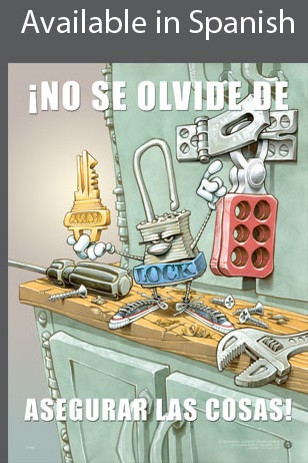 Lock Things Up Safety Poster in SPANISH  pic 1