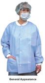 Polypropylene Lab Jacket WHITE w/ 3 Pockets, Snap Fron  pic 2