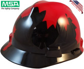 MSA V-Gard BLACK Shell Canadian Flag Hard Hats - Oblique View