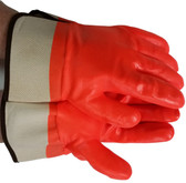 Orange PVC coated gloves foam lining and safety cuffs Pic 1