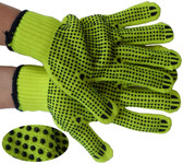 LIME String Knit Gloves with Black Dots Pic 1