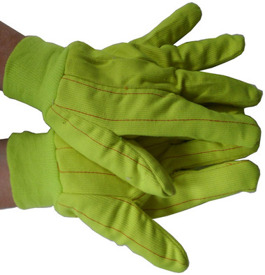 Double Palm Cotton/Polyester Yellow Polychord Gloves Pic 1