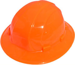 ERB Omega II Full Brim Hard Hats w/ Ratchet Hi Viz Orange pic 1
