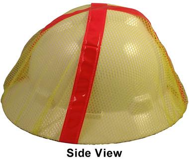 Lime Cap Hard Hat Mesh Hi Viz Covers  Pic 1