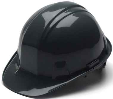 Pyramex 4 Point Cap Style Hard Hats with RATCHET Suspension Black - Oblique View