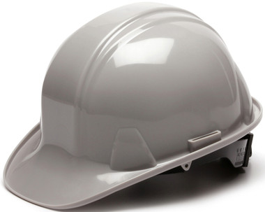 Pyramex 4 Point Cap Style Hard Hats with RATCHET Suspension Gray - Oblique View