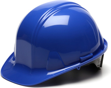Pyramex 4 Point Cap Style Hard Hats with RATCHET Suspension Blue - Oblique View