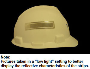 Silver Reflective Strips for Hard Hats Pic 1
