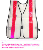 White PVC Coated Safety Vests with Pink Stripes pic 2