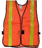 Orange Soft Mesh Safety Vests with 1.5 Inch Lime Stripes Pic 3