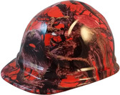 American Camo Orange Cap Style Hydro Dipped Hard Hats  - Oblique View