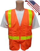 Orange SURVEYOR Safety Vests CLASS 2 with Lime Stripes Front