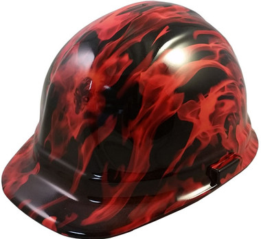 Burning Flames Small Skull Hydro Dipped Hard Hats Cap Style