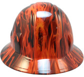 Burning Flames Small Skull Hydro Dipped Hard Hats Full Brim Style