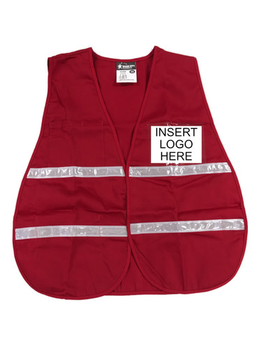Red Incident Command Safety Vests, Silver Stripes w/ Clear Pocket Front pic 1